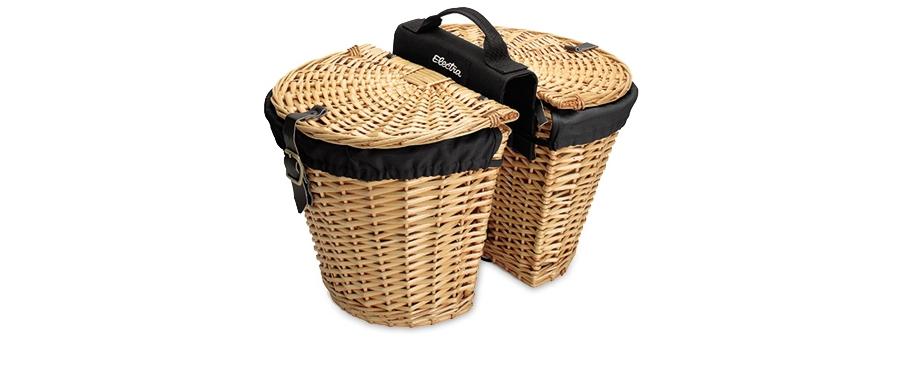 Electra Basket Wicker w/Liners Natural Rear - Electra Basket Wicker w/Liners Natural Rear