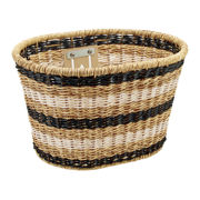 Electra Plastic Woven Basket Light Brown/Black/White