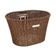 Electra Plastic Woven Basket in Dark Brown