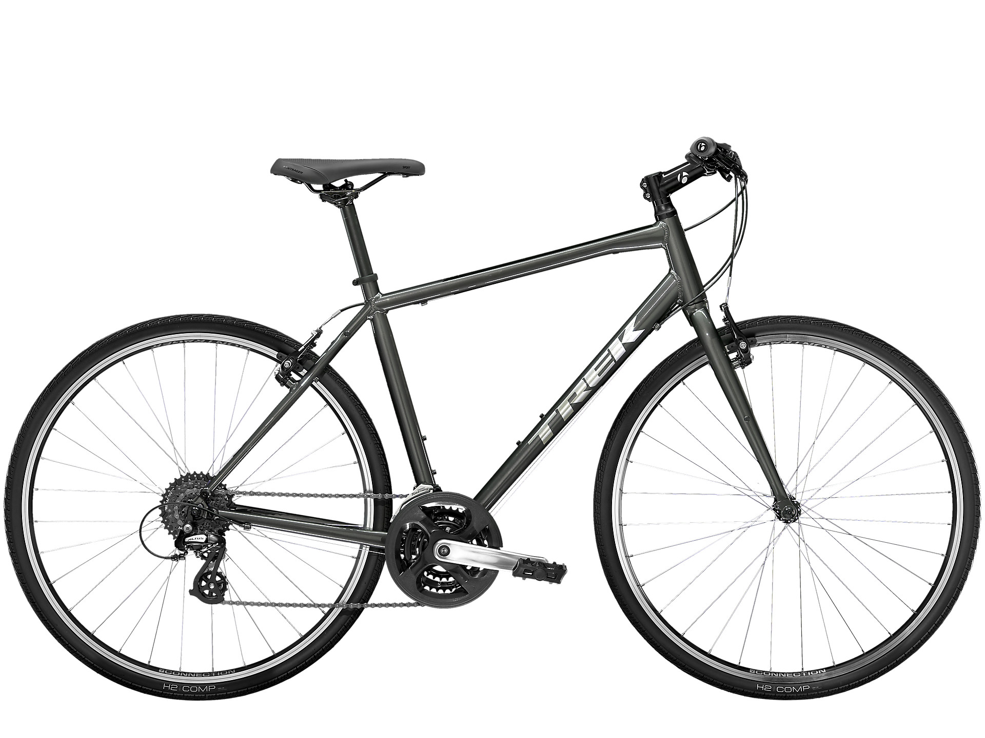 This gray colored Trek fitness bike is one of the cheapest in its class