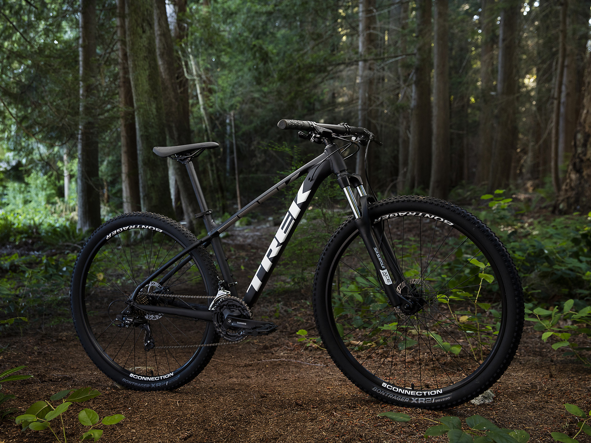 Trek Marlin 5 Hardtail Mountain Bike at a forest